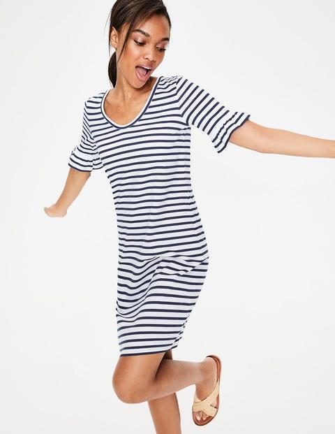 Imogen Jersey Dress - Ivory/French Navy