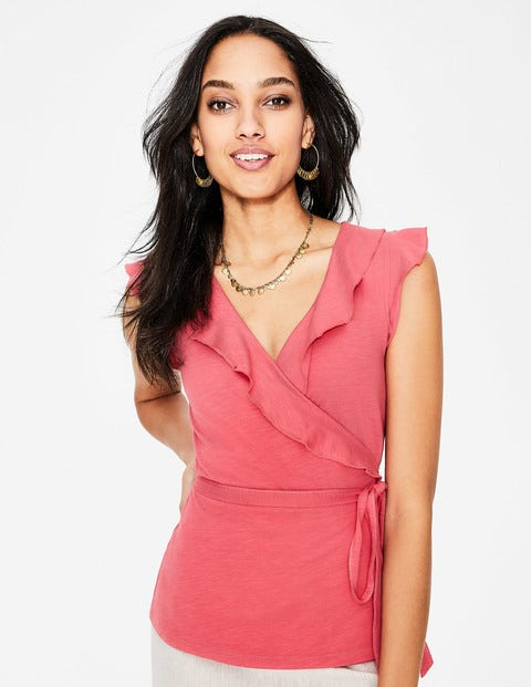 Jodie Jersey Wrap Top - Strawberry Split