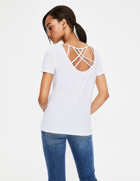 Olivia Linen Back Detail Tee - White