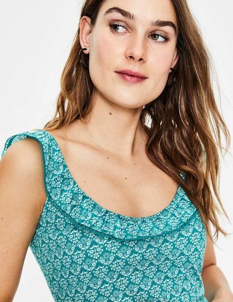 Eleanor Jersey-Trägershirt - Ultramarinblau, Ringelblumen, Geometrisches Muster