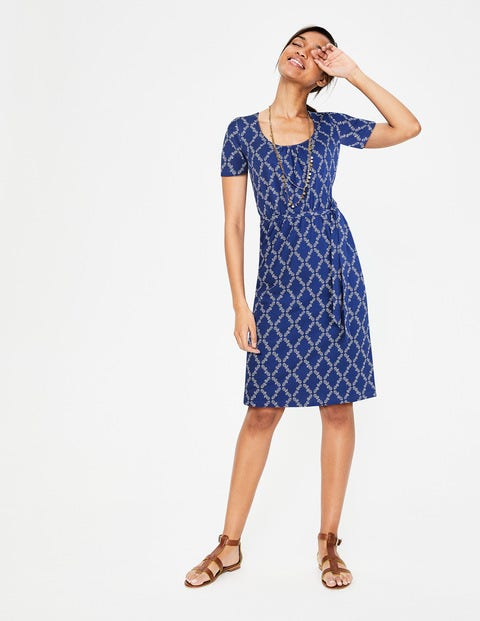 Elspeth Jersey Dress - Lapis Blue Pineapple