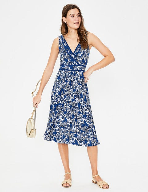 Lorna Jersey Dress - Lapis Bird Ottomi Print