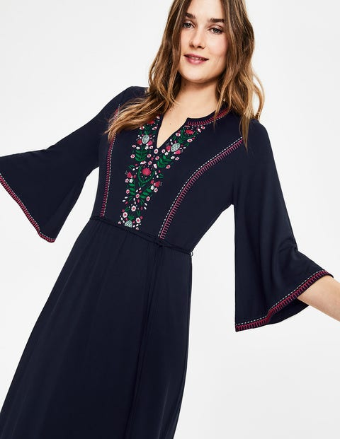 Remi Embroidered Midi Dress - Navy