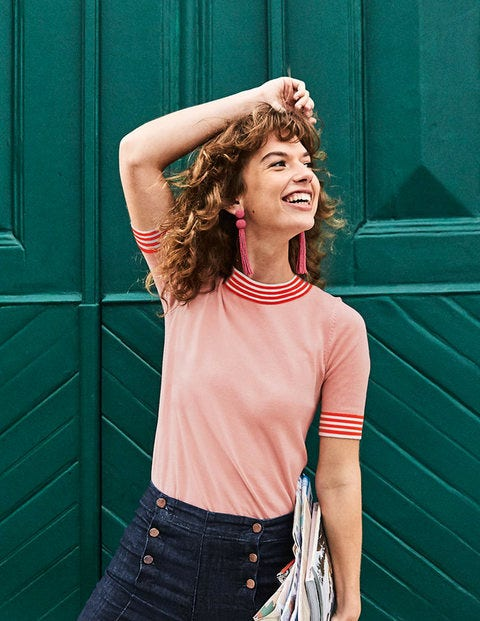 Rachel Knitted Tee - Chalky Pink