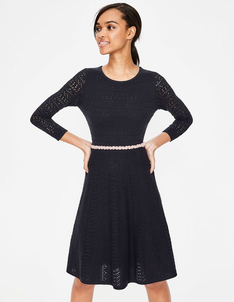 Poppy Knitted Dress - Navy