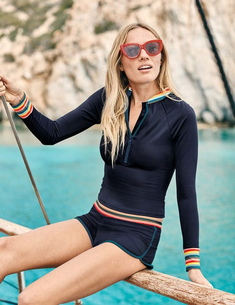 Zip Up Rash Vest - Navy/Rainbow Stripe