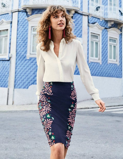 Richmond Pencil Skirt - Navy, Tropical Placement