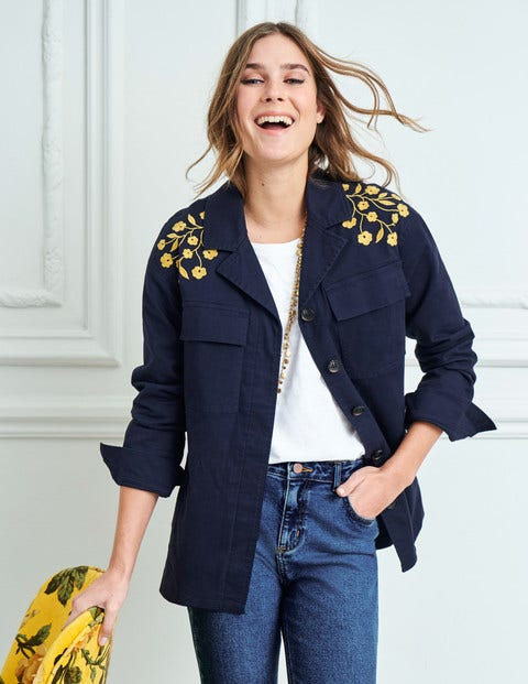 Ruby Embroidered Jacket - Navy