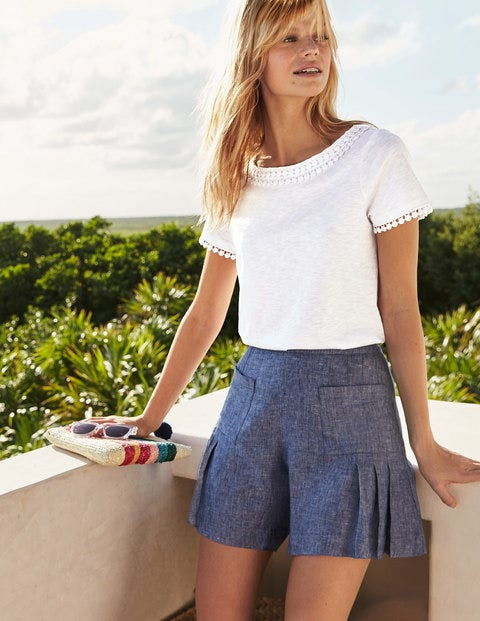 Zoe Linen Shorts - Light Chambray