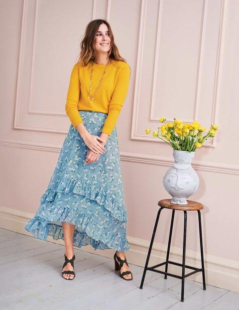 Coraline Midi Skirt - Heron Blue, Daisy Field