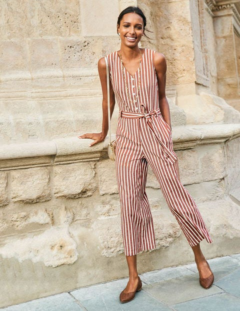 Verity Jumpsuit - Conker and Ivory Stripe