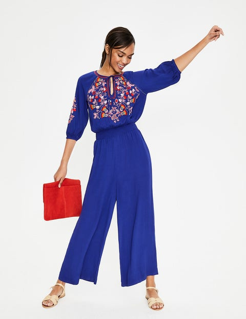 Natalie Embroidered Jumpsuit - Lapis