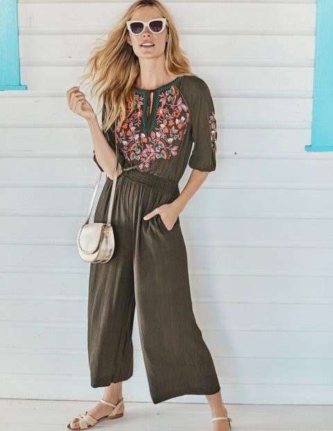 Natalie Embroidered Jumpsuit - Classic Khaki