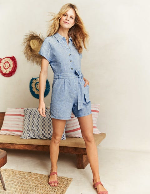 Lucinda Romper - Ticking Stripe