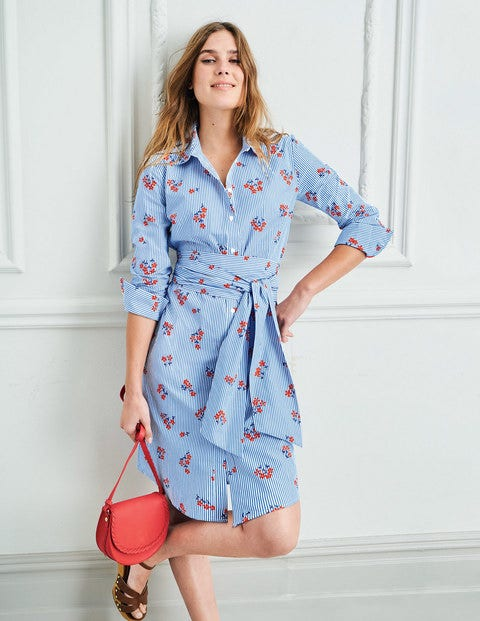 Modern Shirt Dress - Red Pop Scattered Daisy Sprig