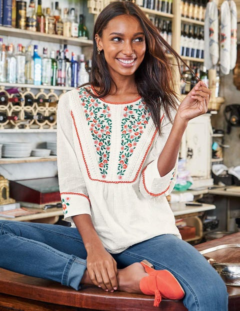 Kelsey Embroidered Blouse - Ivory