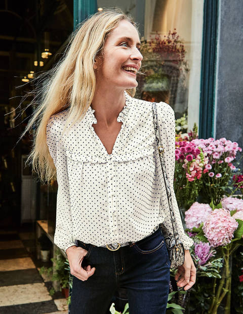 Anya Blouse - Ivory Flocked Spot
