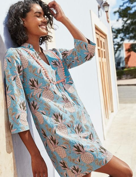 Evangeline Linen Tunic - Heron Blue Tropical Fruit