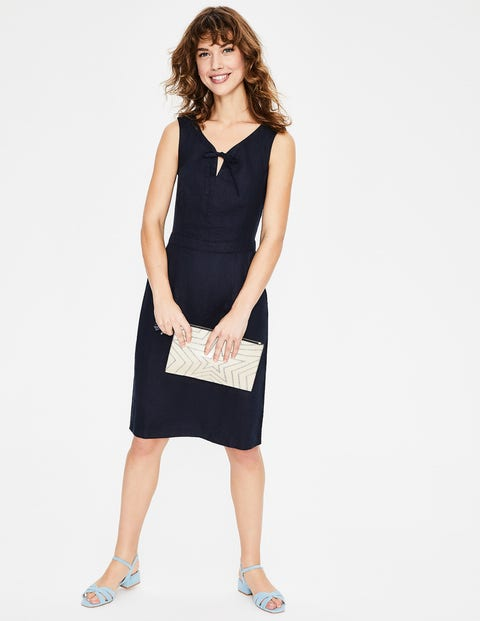 Rae Linen Dress - Navy