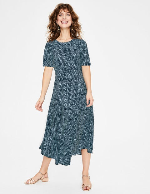 Renee Midi Dress - Navy & Heron Blue Puff