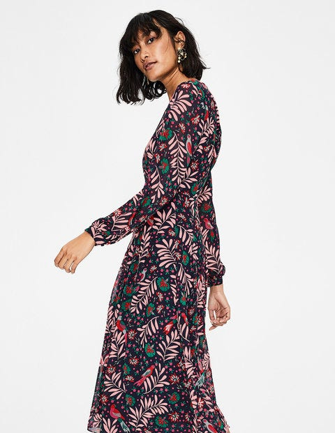 91024a6d5 Ada Midi Dress - Navy Posy Bloom | Boden UK