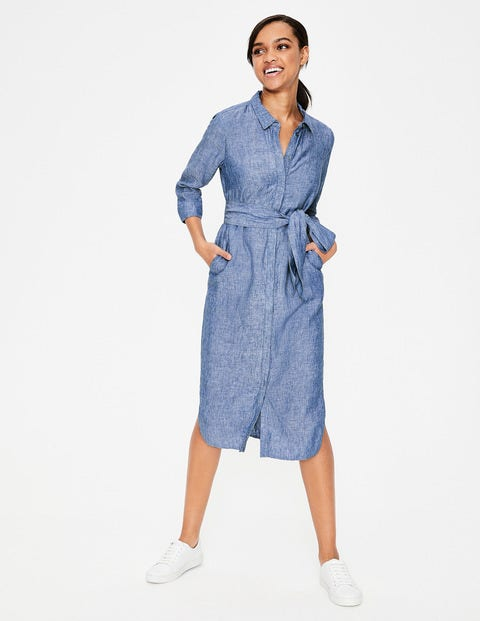 Freya Linen Shirt Dress - Chambray Blue Boden