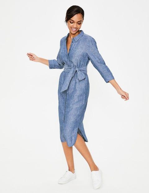 2cacfbbf2a5 Freya Linen Shirt Dress - Chambray | Boden US