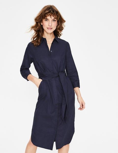 Freya Linen Shirt Dress - Navy
