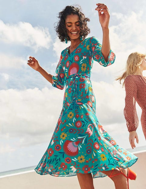 Robe midi Isabelle - Motif Carnival Floral outremer