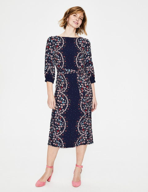 Ferne Midi Dress - Navy & Red Pop Blossom Vine