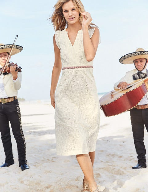Hallie Broderie Midi Dress - Ivory