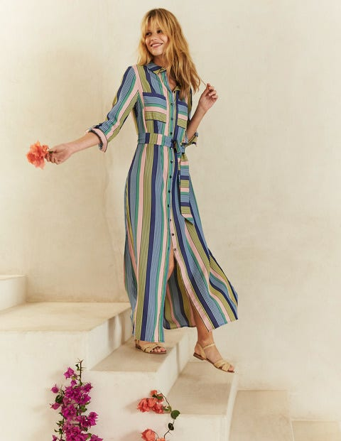Katrina Maxi Shirt Dress - Multi Stripe