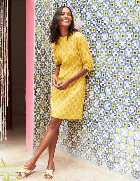 Kate Linen Dress - Dijon Pineapple Lattice