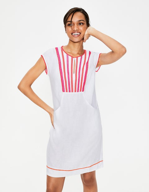 Jessica Linen Dress - White Multi