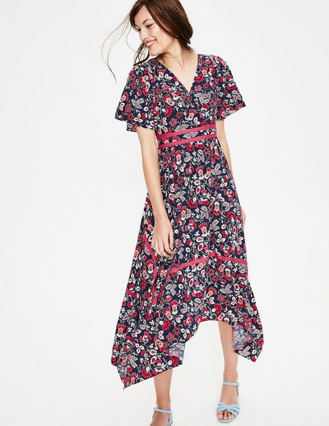 Holly Hanky Hem Midi Dress - Navy Exotic Garden