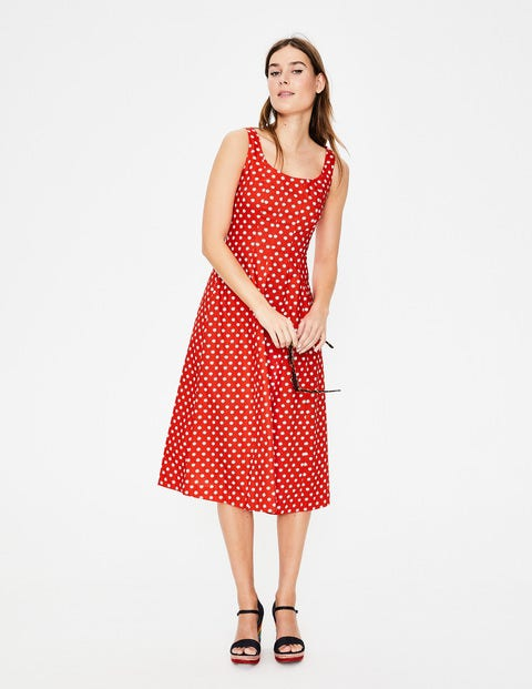 Sabina Midi Dress - Red Pop Spot Star