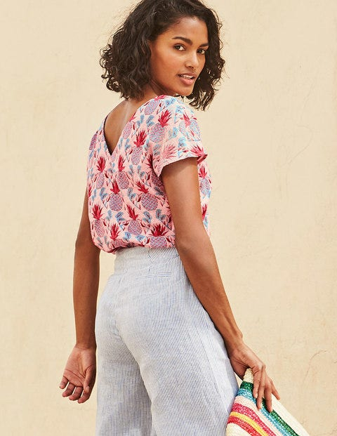 Alexandra Linen Top - Chalky Pink Tropical Pineapple