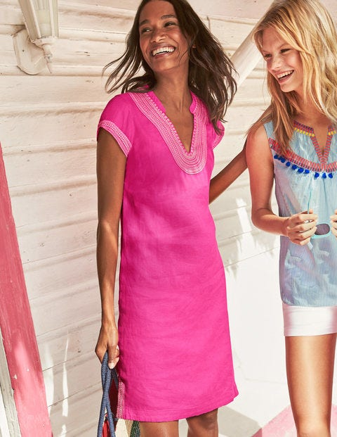 Yasmin Embroidered Linen Tunic - Pink