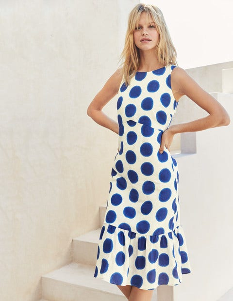 Constance Linen Dress - Lapis & Ivory Ikat Spot