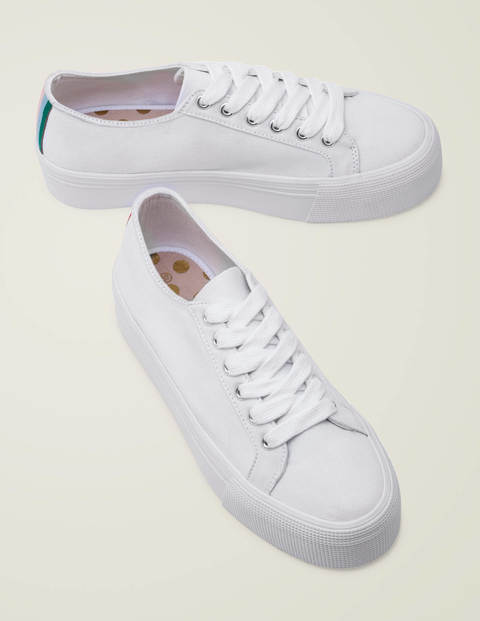 Canvas Flatform Plimsolls - White