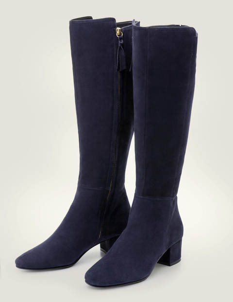 Kennford Knee High Boots - Navy