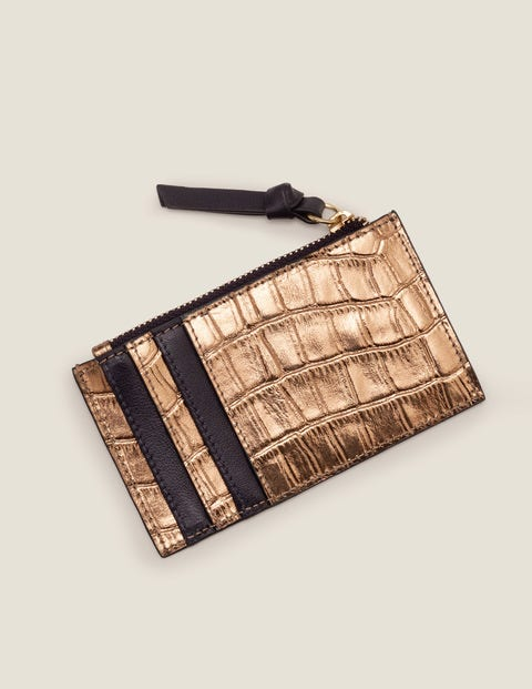 Leather Coin & Card Holder - Bronze Croc