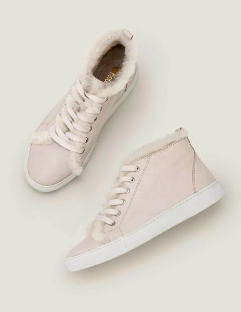 Shearling High Top Trainers - Ecru