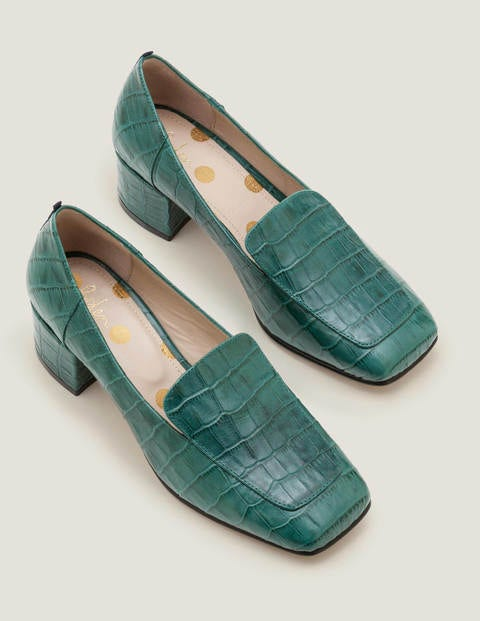 Carina Heeled Loafers - Woodland Green Croc