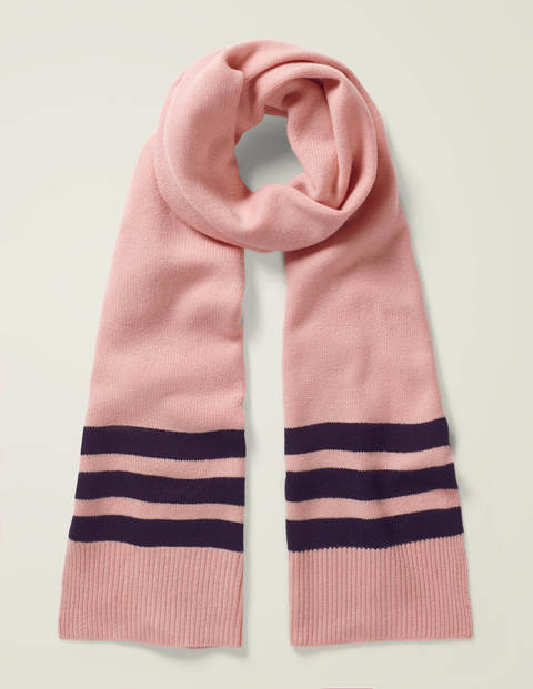 Cashmere Scarf - Chalky Pink/Navy
