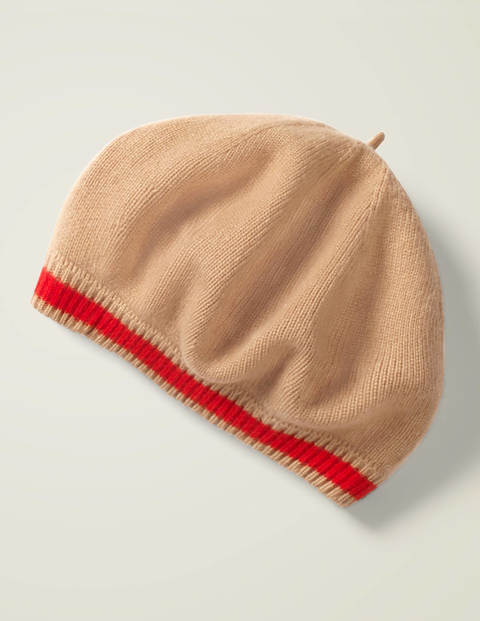Cashmere Beret - Camel Melange/Post Box Red