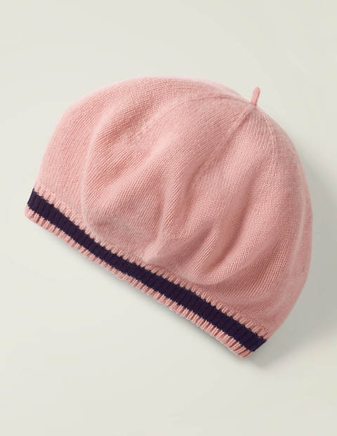 Cashmere Beret - Chalky Pink/Navy