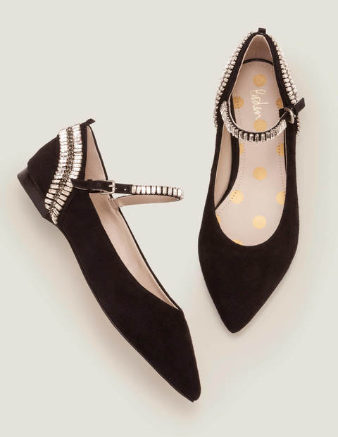 Nella Jewelled Flats - Black