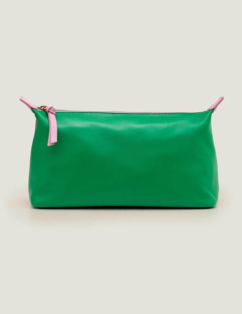 Leather Washbag - Navy/Rich Emerald