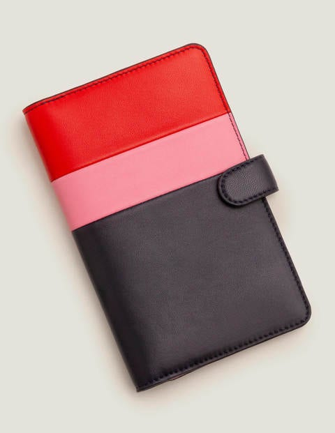 Leather Travel Wallet - Post Box Red/Navy